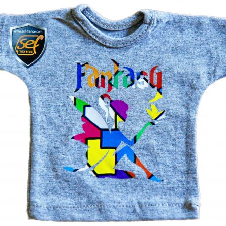 a gray T-shirt with application of colored transfer film in the shape of a fairy