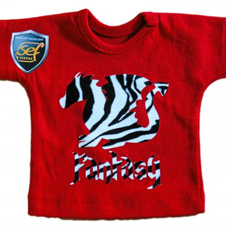 transfer film with a zebra-style print applied to a red T-shirt.