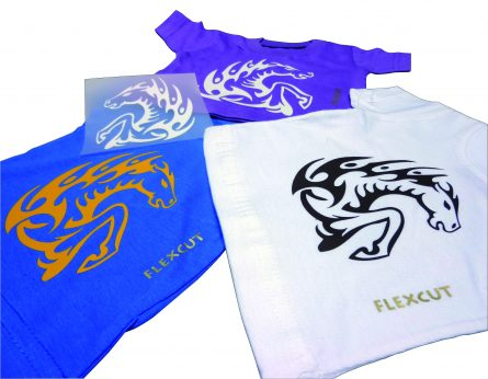 one blue t-shirt, one white t-shirt and one purple t-shirt demonstrating the application of a pattern with plotter-cutting film in silver