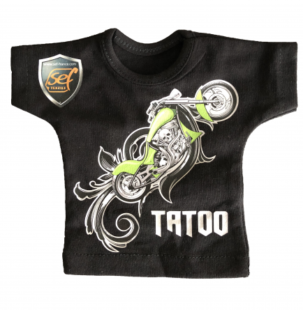 a black T-shirt with a motorcycle printed through a 100% PU print transfer film.