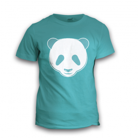 a light blue T-shirt with a panda bear face print made with cut film with a velvety touch in white