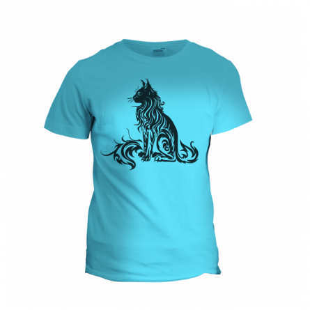 blue t-shirt with preto feito cat print with laser cut film.