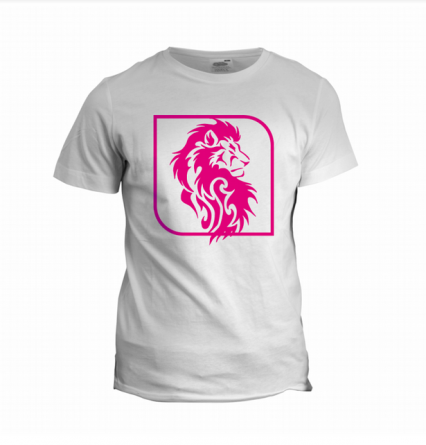 white t-shirt with pink print made by applying cutout vinyl for plotter