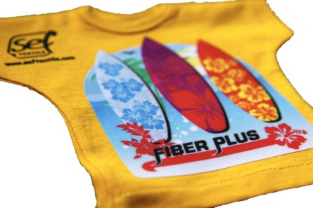 transfer printing film with a velvety touch applied as a print on a yellow T-shirt.