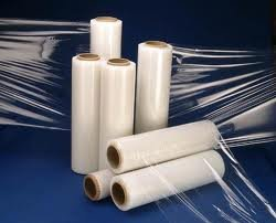 seven rolls of stretch film for palletizing materials