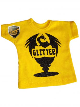 a yellow T-shirt with a glossy black print applied with a glitter effect transfer film