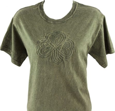 gray t-shirt with embossing embossing application for fabric reliefs