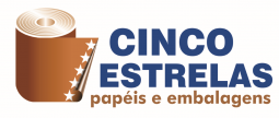 logo of the 5 Estrelas papéis e embalagens company written in blue and brown with 5 stars drawn in a roll of paper next to the written
